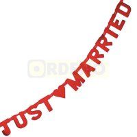 Buchstabenkette Just Married rot