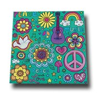 20 bunte Flower Power Servietten mit stilechten Retro Motiven.