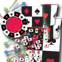 Partygeschirr-Set mit Poker Motiven