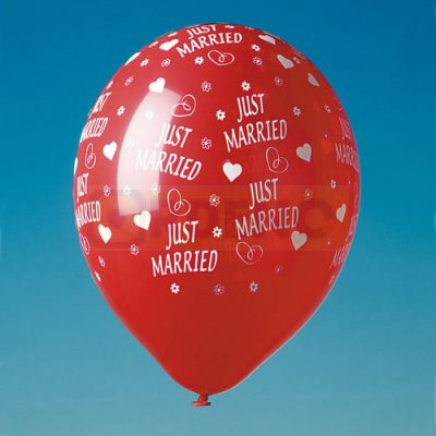 Luftballons Just Married rot